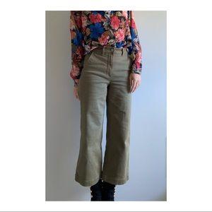 Everlane Jeans - EVERLANE Olive green cropped wide leg regular 2